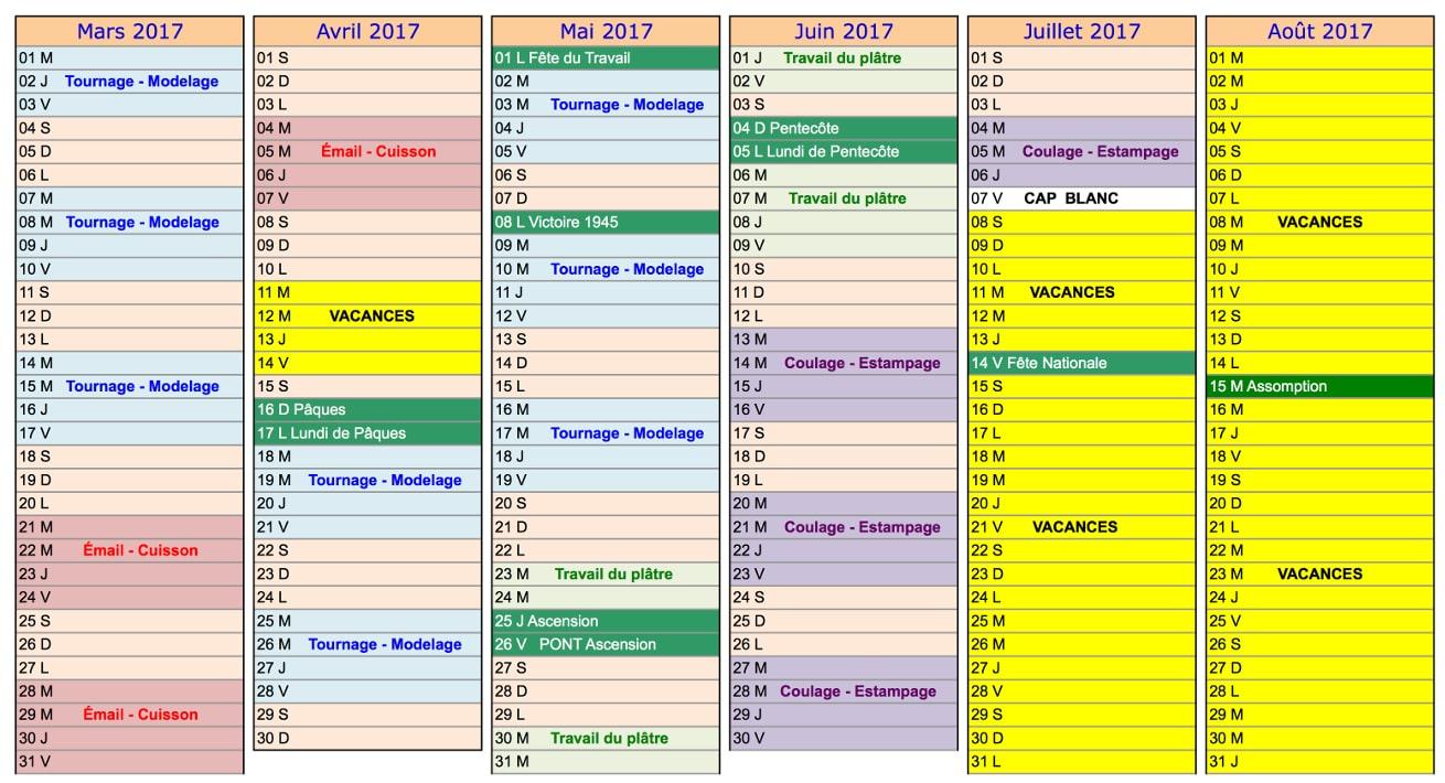Calendrier de formation de l'école de céramique Créamik, février à juillet 2017