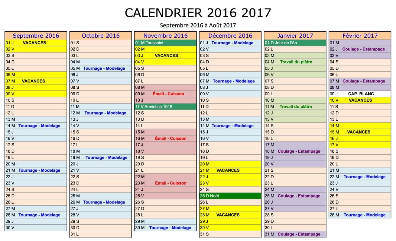 Calendrier de formation de l'école de céramique Créamik, septembre 2016 à février 2017