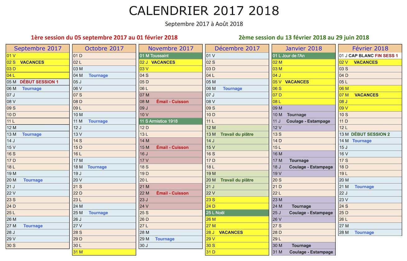 Programme de formation céramique de septembre 2017 à février 2018
