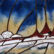 Table basse vue de dessus, fresque de volcans, de Matthieu Liévois