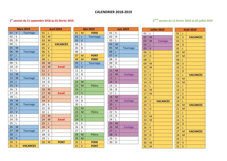 Calendrier 2018-2019-2